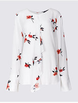 Twiggy Floral Print Frill Front Long Sleeve Blouse