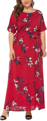 Belle De Jour Belle de Jour Women's Maxi Dresses red - Red Floral Tie-Waist Maxi Dress - Women & Plus