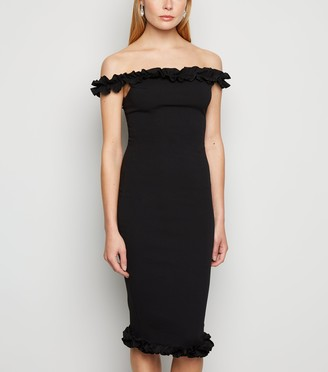 New Look Missfiga Ruffle Bardot Midi Dress