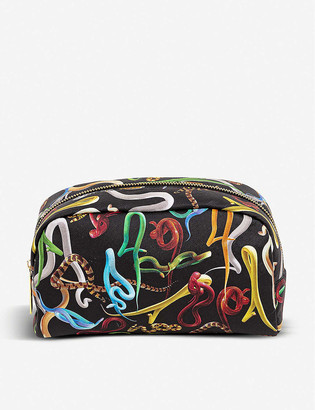 Seletti wears Toiletpaper Sh*t snake-print faux-leather beauty case
