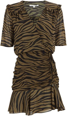 Veronica Beard Dakota Ruched Zebra Print Dress