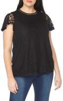 Evans Plus Size Women's Lace Overlay Top