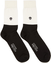 Alexander McQueen Black and Off-white Short Colorblock Socks