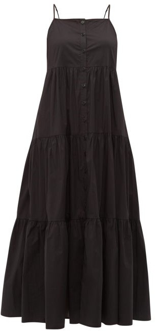 Sea Luna Tiered Cotton-blend Midi Dress - Womens - Black