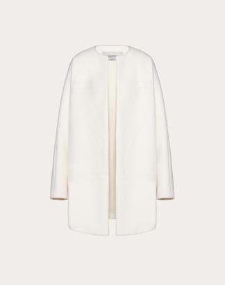 Valentino Vlogo Compact Wool Coat Women Ivory Virgin Wool 95%, Cashmere 5% 36