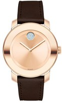 Movado 'Bold' Crystal Accent Leather Strap Watch, 36mm