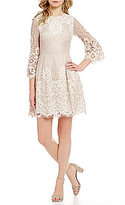 Eliza J Scalloped Lace Bell Sleeve Fit and Flare Dress