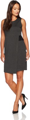 Kasper Women's Petite Ponte Faux Wrap Sheath Dress