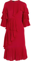 Gucci Ruffled Silk-georgette Dress - Red