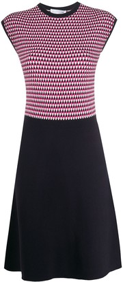 HUGO BOSS Geometric-Pattern Knitted Dress