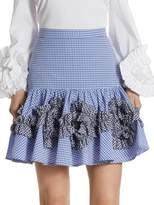 Alexis Daly Ruffle Gingham Cotton Skirt