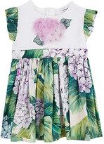 Dolce & Gabbana Flower-Appliquéd Hydrangea-Print Cotton Dress
