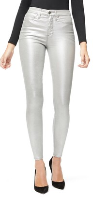Good American Good Waist Metallic High Waist Skinny Jeans