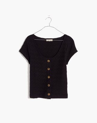 Madewell Knit Pointelle Button-Front Scoop Tee