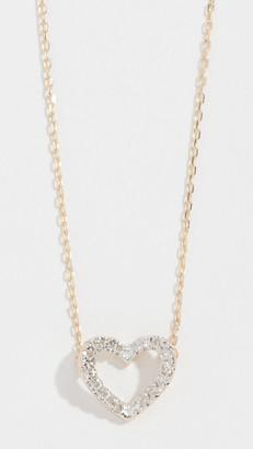 Adina Reyter 14k Tiny Pave Open Folded Heart Necklace