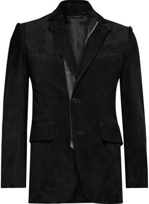 Tom Ford Slim-Fit Leather-Trimmed Suede Jacket