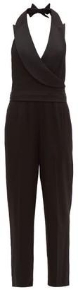 Diane von Furstenberg Habbana Peak-lapel Crepe Jumpsuit - Womens - Black