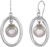 Majorica 10 mm White Round Pearl Drop in Oval Drop Earrings