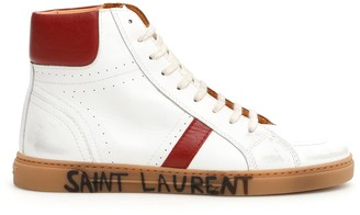 Saint Laurent MID TOP JOE SNEAKERS 39 White, Red Leather