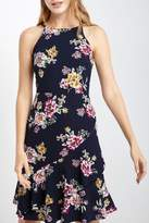 Soprano Navy-Floral Ruffle Dress