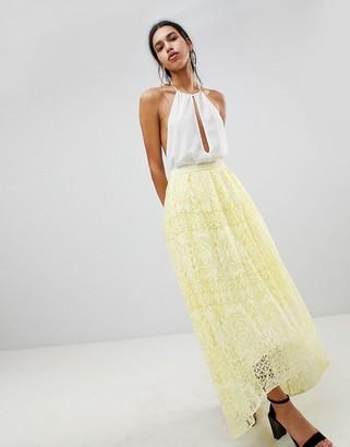 Asos Design DESIGN lace maxi prom skirt-Yellow