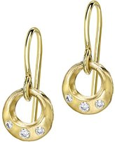 Dower & Hall Eternal 9ct Yellow Gold Diamond Open Circle Drop Earrings