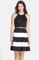 Eliza J Women's Stripe Skirt Cotton Sateen Fit & Flare Dress