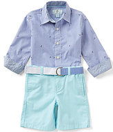Class Club Little Boys 2T-7 Anchor Embroidered Striped Woven Shirt & Shorts Set