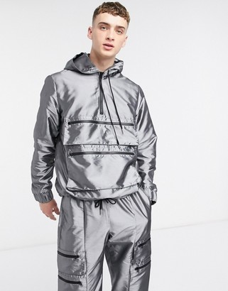 The Ragged Priest hooded taffeta pull over in silver