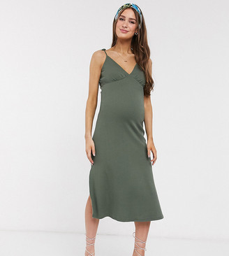 ASOS DESIGN Maternity ribbed cami midi sundress in khaki