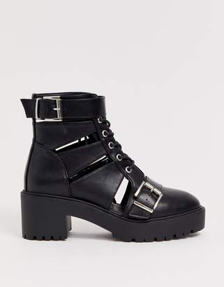 Asos Design DESIGN Rion chunky cut out ankle boots in black