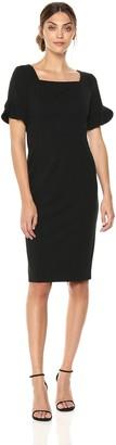 Donna Morgan Women's Sheath Dress with Ruffle Sleeve