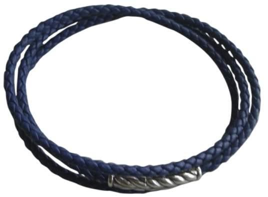 David Yurman Chevron Triple Wrap Blue Leather Braided Cord Bracelet