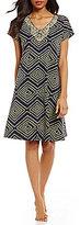 Kate Landry Casuals Ikat Geometric Dot Patio Dress