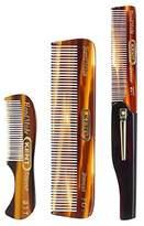 Kent Gentlemen's Comb Set: 81T Beard and Moustache Comb, FOT Pocket Comb, and 20T Folding Pocket Comb with Clip by