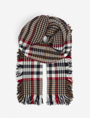 Johnstons Checked extra-fine merino wool scarf