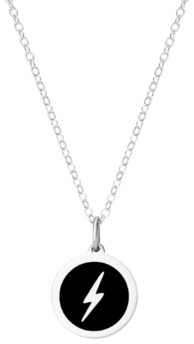 """Auburn Jewelry Mini Lightning Pendant Necklace in Sterling Silver and Enamel, 16"""" + 2"""" Extender"""