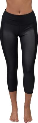 90 Degree By Reflex Cire Mesh Panel High Rise Capri Leggings