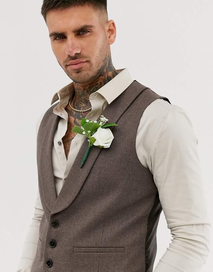 Asos Design DESIGN wedding skinny suit waistcoat in soft brown twill