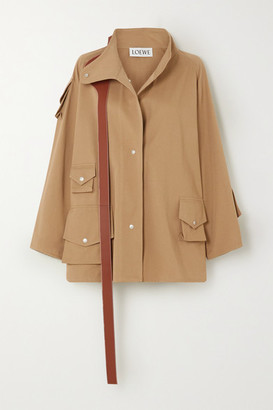 Loewe Oversized Leather-trimmed Cotton-twill Parka - Beige