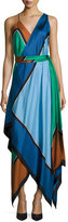 Diane von Furstenberg Colorblock Silk Scarf-Hem Midi Dress, Blue/Green/Copper