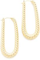 Soave Oro Elongated Ribbed Hoop Earrings