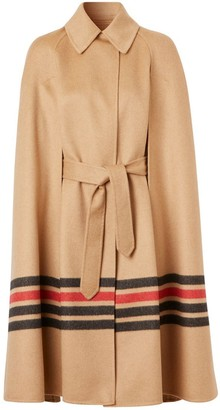 Burberry Stripe Detail Double-faced Cashmere Cape