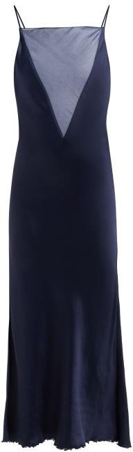 Marina Moscone Organza-insert Satin Slip Dress - Navy