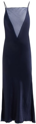 Marina Moscone - Organza Insert Satin Slip Dress - Womens - Navy