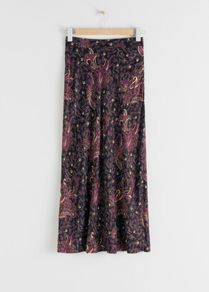 And other stories Flowy Paisley Satin Midi Skirt