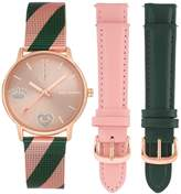 Juicy Couture Women's Multi-Colored Mesh Bracelet Watch With 2 Interchangeable Leather Straps, 36mm