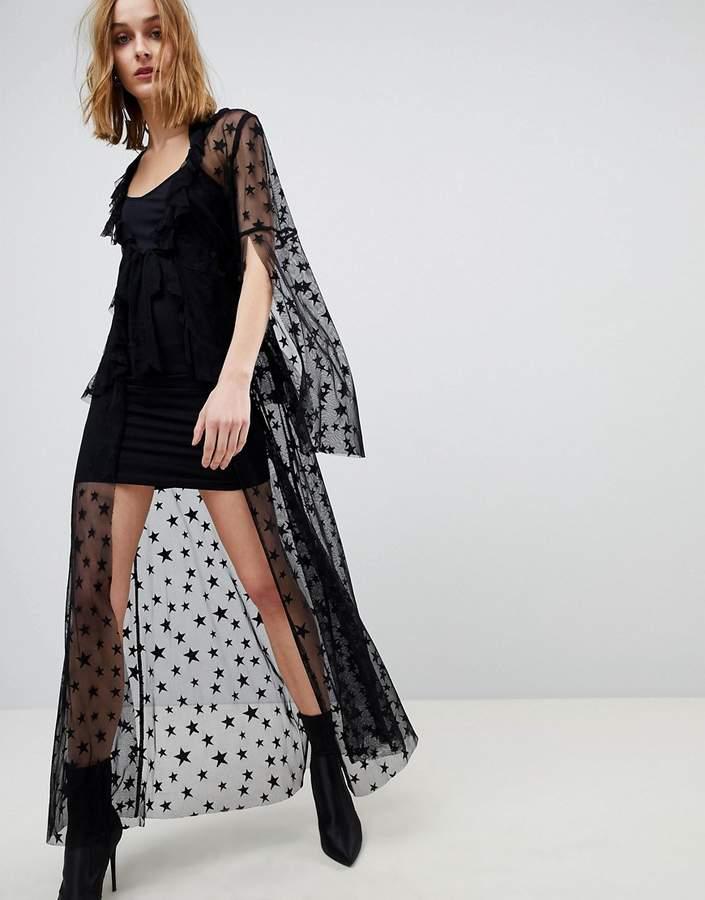 Anna Sui Star Mesh Sheer Tie Up Dress
