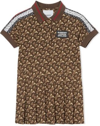 BURBERRY KIDS Monogram Stripe print polo shirt dress
