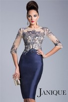 Janique - Bejeweled Bodice Cocktail Dress 1502